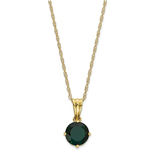 ICE CARATS 10k Yellow Gold Tiara Collection Diamond Lab Created Green Emerald Chain Necklace Set Gemstone Fine Jewelry Gift Set For Women (Lab Created Emerald Stone)