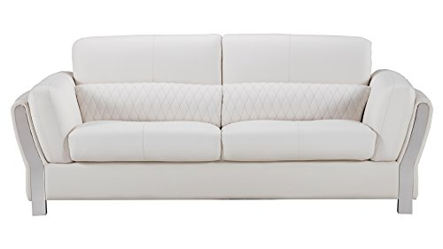 - American Eagle Furniture Chelsea Collection Modern Living Room Leather Upholstered Sofa With Tufted Waist, White