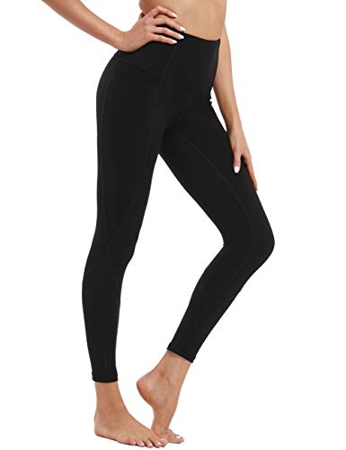 Hopgo Women's High Waist Workout Leggings 7/8 Yoga Pants with Pockets Tummy Control Compression Sports Tights Black US S