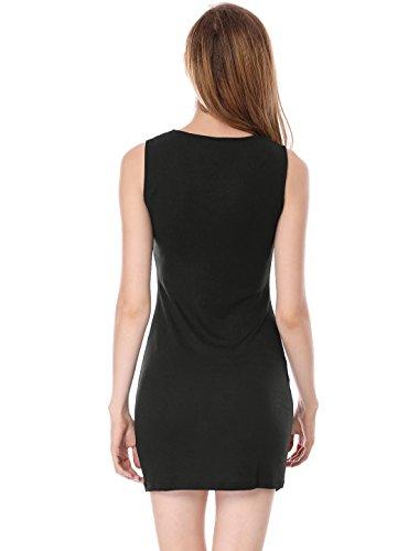 Beads Sheath K Mini Sleeveless Unlined Neck Allegra Split Black Women's Dress dXpW6x8
