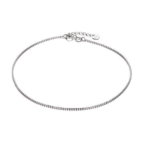 SISGEM 18k White Gold Bracelet and Anklet, Real Gold Bead Bracelet, Gold Chain Anklets for Women, 9-10 inch ()