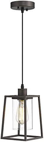 Emliviar Kitchen Pendant Light, Mini Hanging Light in Oil Rubbed Bronze Finish with Clear Glass Shade, 3046M1L ORB