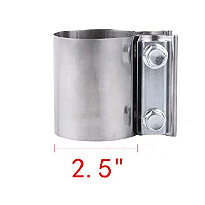 """2.5"""" 2 1/2 Butt Joint Exhaust Band Clamp Stainless Steel Exhaust Pipe Clamp for Exhaust Pipe, Muffler, Elbow and Exhaust Tubing Connection: Automotive"""