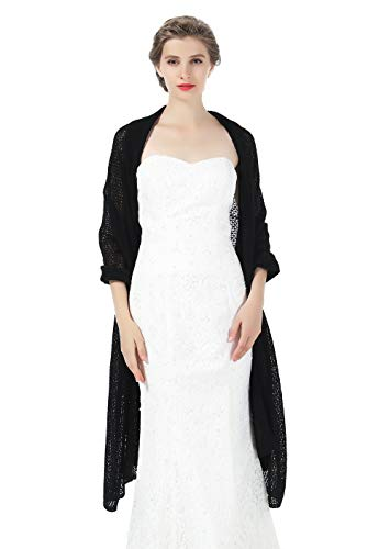Cashmere Wedding Wrap Bridal Shawl Wool Knit Women Scarf Pashmina Stole for Evening Dress Black