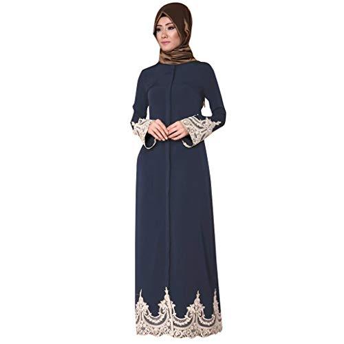 Muslim Dress for Women Lace Trimmed Front Abaya Muslim Maxi Kaftan Kimono Blue