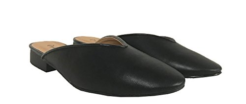 Soric-02! Mujeres Rounded Toe Chunky Heel Slip On Mules Cuero Sintético Negro
