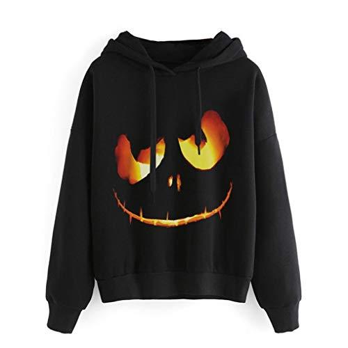 Women's Halloween Plus Size Pumpkin Devil Sweatshirt Pullover Tops Hoodie Shirt (Black, 5XL)
