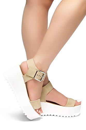 Herstyle Womens's Carita-Open Toe Ankle Strap Platform Wedge Beige7