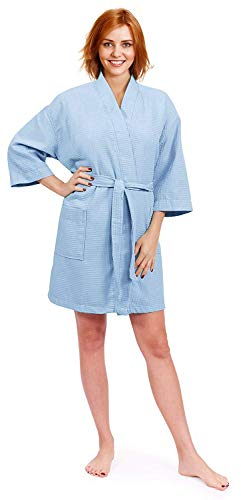 Indulge Women's Lightweight Short Kimono Waffle Robe, Spa Summer Bridesmaids Bathrobe (Small/Medium, Light Blue) ()