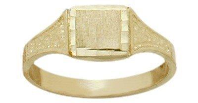 10K Yellow Gold Diamond Cut Rectangle Baby Ring (Baby Ring Gold Yellow Rectangle)