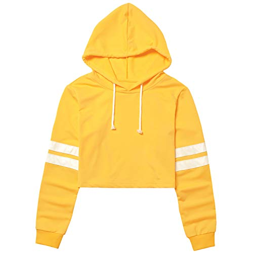 Yellow Cropped Hoodie for Women Crop Sweatshirt Tops Loose Fit Pullover Shirt ()
