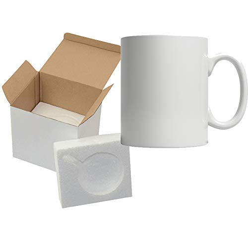 - 11oz Sublimation Mugs With Gift Mug Box. Mugs - Cardboard Box with Foam Supports Case of 4