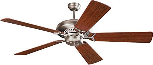 Monte Carlo 5GP60BS Flush Mount, 5 White Cream Blades Ceiling fan, Brushed Steel