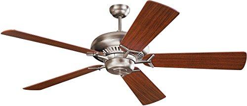 Monte Carlo 5GP60BS Flush Mount, 5 White Cream Blades Ceiling fan, Brushed Steel