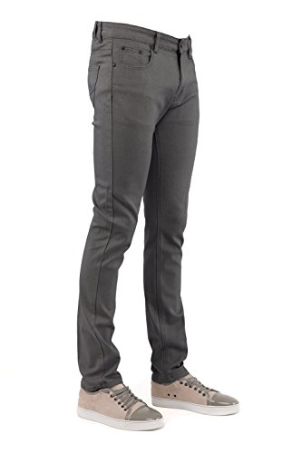 Perruzo Men's Skinny Fit Color Jeans (34x30, Charcoal)