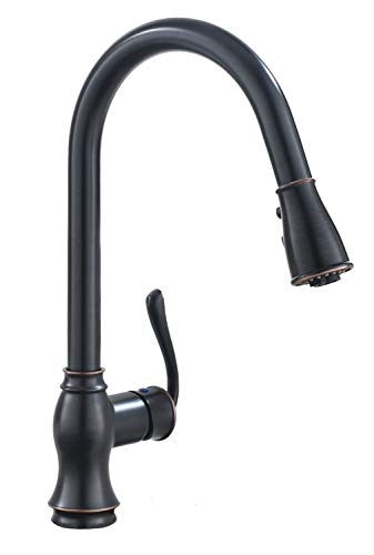 APPASO Single Handle Pull Down Kitchen Faucet with 3-mode Sprayer Oil Rubbed Bronze, High Arc Antique Pull Out Kitchen Sink Faucet, K127-ORB