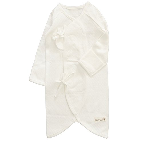 Button Kimono Gown , 0~3 Months, 100% Organic Cotton (Organic Natural Ivory ( Spring. Fall -