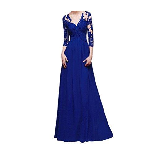ABWedding Ausschnitt langes V Kleid Ärmel Rot mit Spitze lange tiefem Königsblau Abendkleid Damen Abschlussball aaqUzrw