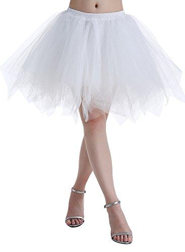 BIFINI Adult Women 80's Plus Size Tutu Skirt Layered Tulle Petticoat Halloween Tutu White -