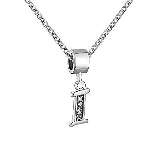 - LoEnMe Jewelry Initial 26 Letters I Alphabet Letter Necklace Cubic Zirconia Pendant Gift Women Men Girl Boy