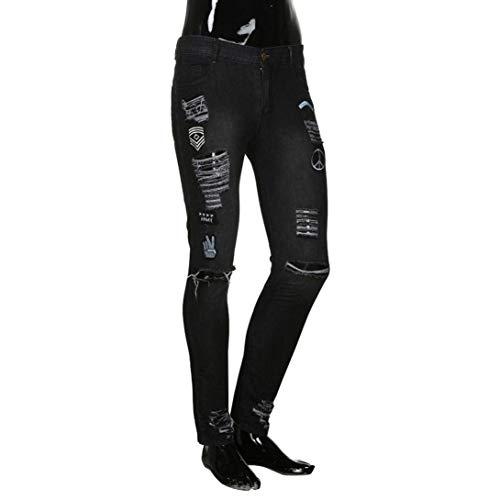 Nero Mens Del Logori Denim Ciclisti Nervi Dei Uomini Slim Moderna Casual Bt Costole Chiusura Manadlian Pantaloni Degli Jeans rnTxU6rq