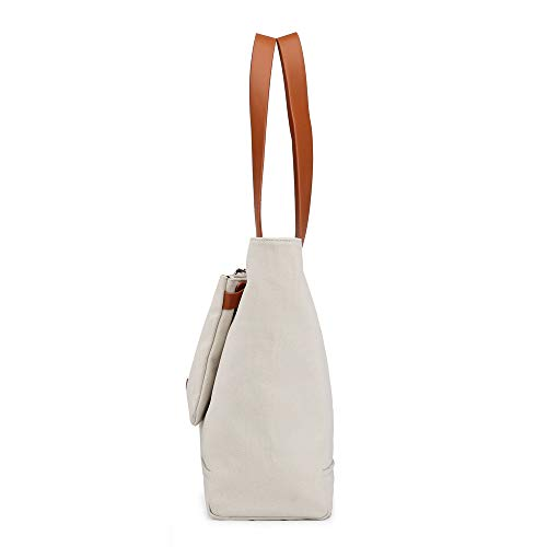 Handbag Hobo Removable Totes Clutch with Capacity iDamtok White Handles Top Bag Large Bag Canvas One Womens Shoulder 4vqzFART