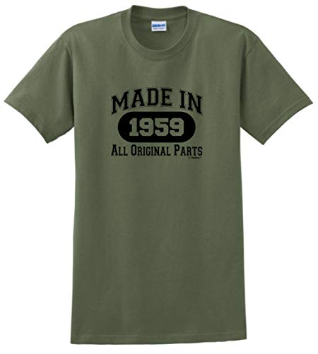 60th Birthday Gift Made 1959 All Original Parts T-Shirt Large Military Green]()