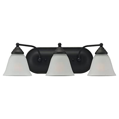 Sea Gull 44577-782 Lighting 3-Light Albany Heirloom Bathroom Vanity Light, Bronze, 1-Pack - Heirloom Bronze Finish with Satin Etched Glass Shades 3 Medium A19 100w Max Supplied with 6.5'' of wire - bathroom-lights, bathroom-fixtures-hardware, bathroom - 31xiP7mPJGL. SS400  -