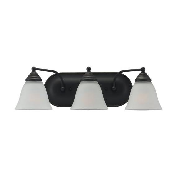 Sea Gull 44577-782 Lighting 3-Light Albany Heirloom Bathroom Vanity Light, Bronze, 1-Pack - Heirloom Bronze Finish with Satin Etched Glass Shades 3 Medium A19 100w Max Supplied with 6.5'' of wire - bathroom-lights, bathroom-fixtures-hardware, bathroom - 31xiP7mPJGL. SS570  -