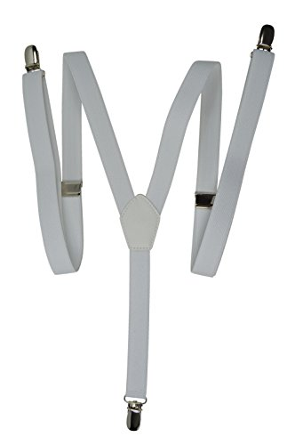 Hosenträger mit 3 Clips - Modell 'Skinny' 2cm. Weiß