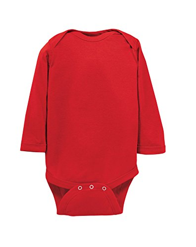 Red Infant Onesie - Rabbit Skins 100% Cotton Infant Baby Long Sleeve Bodysuit [Size 12 Months] Red Long Sleeve Onesie