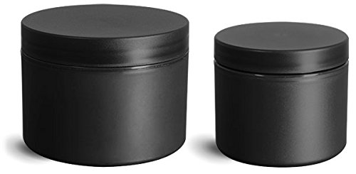 8 Oz. Frosted Black Polypropylene Plastic (PIR) Straight Sided Jars with Black Lined Caps (24 Jars)