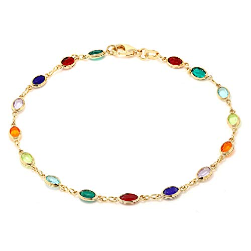 Gem Stone King 10 Inch Multi-Color Crystal & Gold Plated Brass Anklet Bracelet