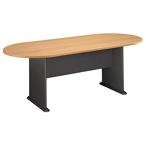 (Bush Business Furniture 82W x 35D Racetrack Conference Table, Light Oak with Graphite Gray)