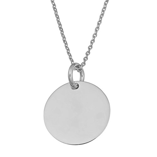 14k White Gold 10mm Round Disc Adjustable Length Necklace (fits 17'' or 18'') by Kooljewelry