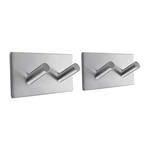Kes Self Adhesive Hooks Rail Rack Sticky Stick On Coat and Robe Key Hook SUS 304 Stainless Steel Brushed Finish 2-Hook 2-Piece, A7063H2-2-P2