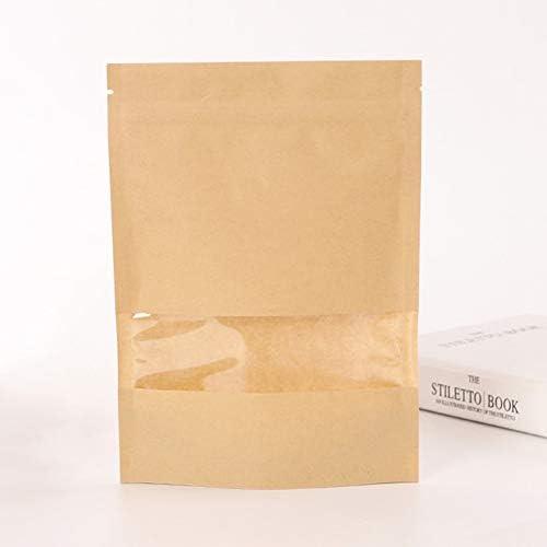 LNIMIKIY Papier-Druckverschlussbeutel, 20 Stück, für Zuhause, durchsichtige Fenster, geruchssicher, für Lebensmittelaufbewahrung, Kaffee, Nüsse, Geschenk, Snack, Tee wiederverschließbar,9*14
