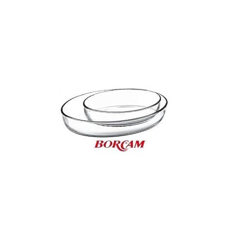 Borcam-set molde de horno de vidrio bandeja de cristal para horno oval: Amazon.es: Hogar