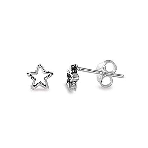 Sterling Silver Open Star Post Stud Earrings, 5mm (0.23 inch)