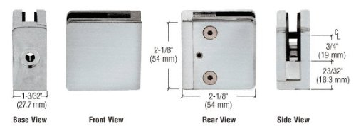 C.R. LAURENCE Z910BS CRL Brushed Stainless Z-Series Square Type Flat Base Stainless Steel Clamp for 3/8'' Glass