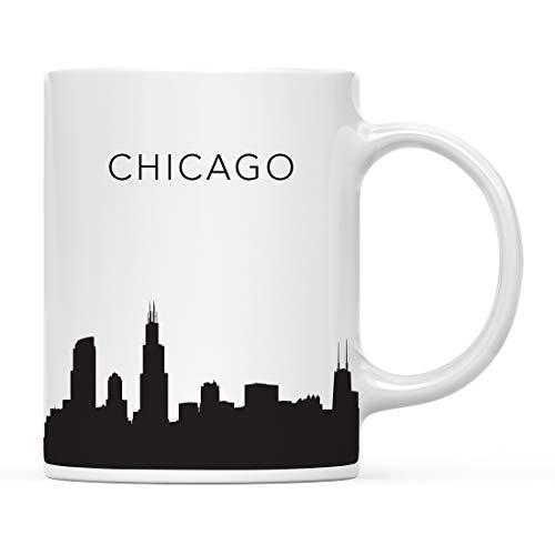 Andaz Press 11oz. Tourist Travel Souvenir Coffee Mug Gift, Chicago Illinois USA Skyline, 1-Pack, Christmas Birthday Moving Away Study Abroad Graduation Bon Voyage, Includes Gift Box
