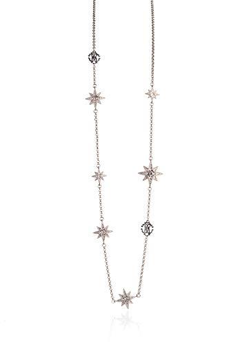 (Roberto Cavalli Women's Silver RC Logo Swarovski Crystal Stars Necklace~RTL$1250)