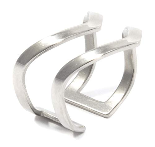 - Happiness Boutique Double Chevron Ring in Silver Color | Open Cuff Ring Stainless Steel Jewelry