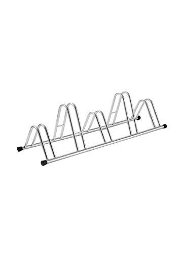 Soporte para bicicletas de suelo de 5 plazas, en acero galvanizado en frío, color plata con tapones en pvc negro. Andrys