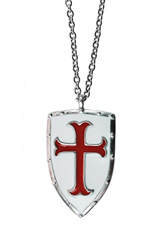 (exoticdream Knight Templar Shield Crusader Cross Medallion Medieval Amulet Defense Protection Pendant Necklace (Red with Stainless Steel,)