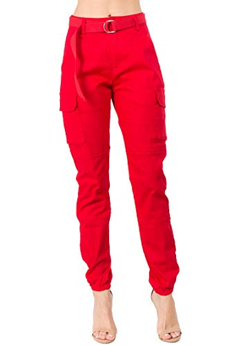 Red Pocket Jean - TwiinSisters Women's High Rise Slim Fit Plus Size Belted Jogger Pants - Size Small to 3X