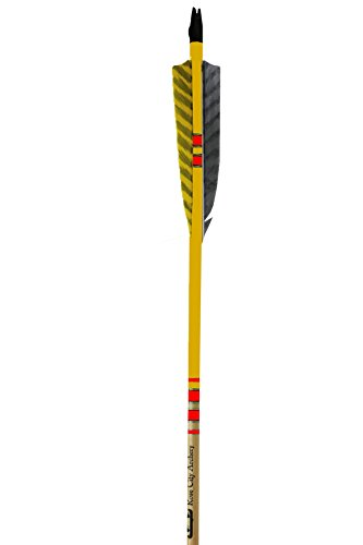 Rose City Archery Port Orford Cedar Extreme Elite Arrows with Clear Lacquer Shaft, 4'' Length Shield Cut Fletch, 5/16'' Diameter & Less Than 30 lb Spine Weight (3 Pack), Yellow by Rose City Archery