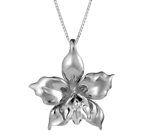 Aloha Jewelry Company Sterling Silver Orchid Necklace Pendant with 18
