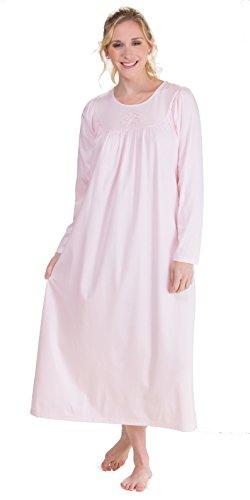 Calida Soft Cotton Long Sleeve Nightgown (33300) L/Bonbon (Sleeve Nightgowns Shop Long)