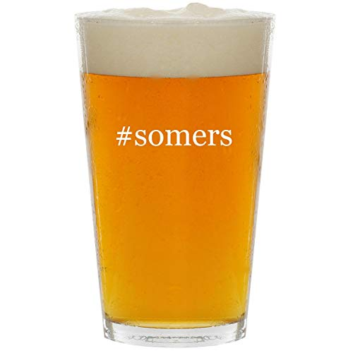 #somers - Glass Hashtag 16oz Beer Pint